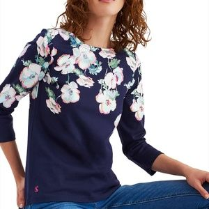 Joules Harbour Print Navy Poppy Floral Knit Top XL